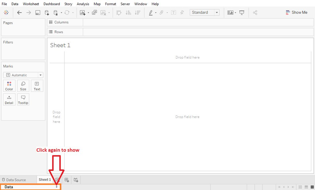 Tableau Worksheet show or hide elements Step 3